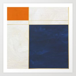 Orange, Blue And White With Golden Lines Abstract Painting Art Print