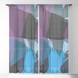 Transparent cool colors Sheer Curtain