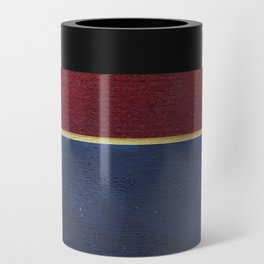 Deep Blue, Red And Gold Abstract Painting Can Cooler