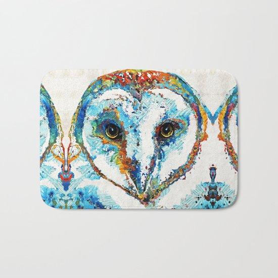 Colorful Barn Owl Art - Birds by Sharon Cummings Bath Mat