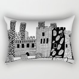 Wales Conwy Castle Patterned Illustration Rectangular Pillow