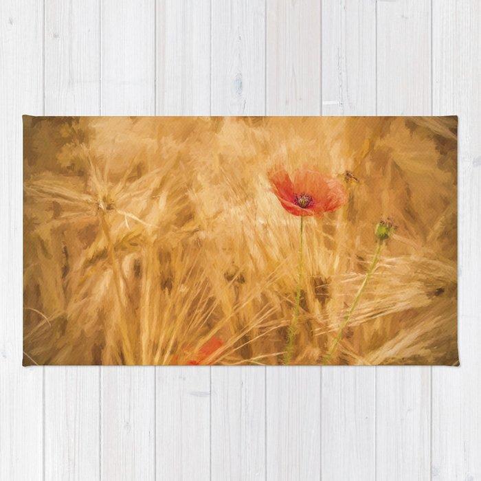 Fiery poppy in a golden cornfield poppies flower flowers rug by fiery poppy in a golden cornfield poppies flower flowers rug mightylinksfo
