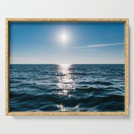 Sea Blue Sky sun Serving Tray