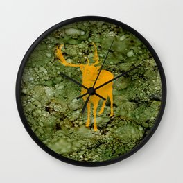 Deer on Green Camo Wall Clock