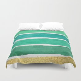 Gold and Green Stripes Duvet Cover