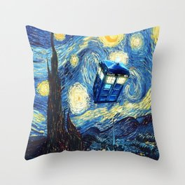 Tardis Doctor Who Starry Night Throw Pillow