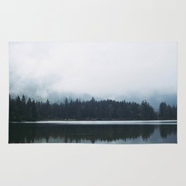 Minimalist Cold Landscape Pine Trees Water Reflection Symmetry Rug