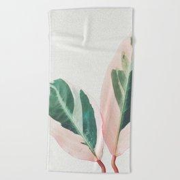 Pink Leaves I Beach Towel