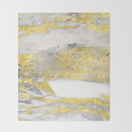 Silver and Gold Marble Design Throw Blanket