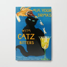 Mix Your Drinks with Catz Bitters Aperitif Liquor Vintage Advertising Poster Metal Print