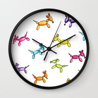 puppies Wall Clocks featuring Balloon Puppies by Pooster the Bear
