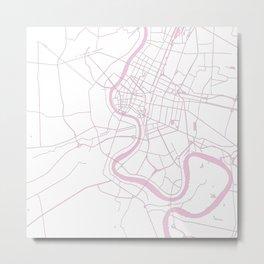 Bangkok Thailand Minimal Street Map - Pastel Pink and White II Metal Print
