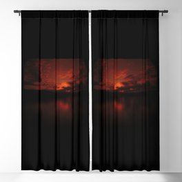 Dark Red Sunset in Montana, Water Reflection, Hues of Red, Sailor's Delight Blackout Curtain