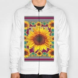 Burgundy-Teal Sunflowers Grey Art Hoody