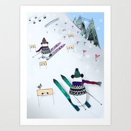 Pandas gone skiing Art Print