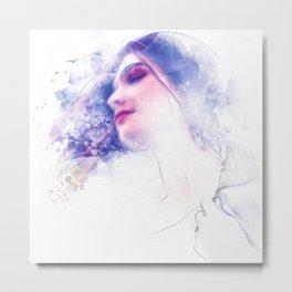 Blue Profile Girl Sketch Metal Print