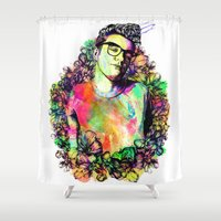 the smiths Shower Curtains featuring I blame everything on The Smiths by Ben Hawke