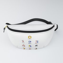 Navy Alphabet Numbers - Leather Fanny Pack
