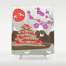 Japanese Pagoda Shower Curtain