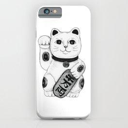 Maneki-neko Japanese Lucky Cat - Black & White iPhone Case