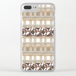 Boho . Beige woven textiles . Clear iPhone Case