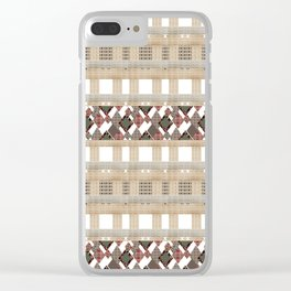 Boho . Beige woven textiles . Clear iPhone Case