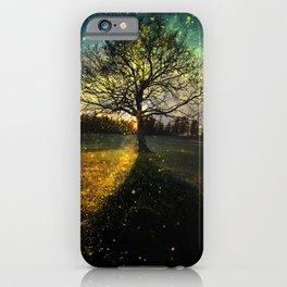 Magical fireflies dreamy landscape iPhone Case