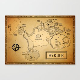 Hyrule Map  OOT Canvas Print