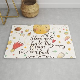 I love you to the moon and back. Awesome romantic card with lovely planets, moon, comic astronauts, spaceships, starts and comets Rug