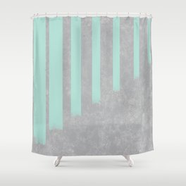 Soft cyan stripes on concrete Shower Curtain