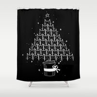 xmas Shower Curtains featuring Catmas Xmas by Tobe Fonseca