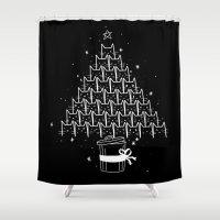 xmas Shower Curtains featuring Catmas Xmas by Tobe Fonseca