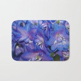 Sky blue Delphinium Flowers Bath Mat