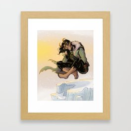 Catnapping Loki Framed Art Print