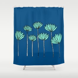 Blue and Teal Tropical Botanical Print by Emma Freeman Designs Shower Curtain