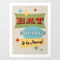 Eat Drink & Be Merry Poster :: Retro Diner Sign Art Print