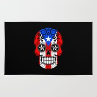 puerto rico Area & Throw Rugs featuring Sugar Skull with Roses and Flag of Puerto Rico by Jeff Bartels