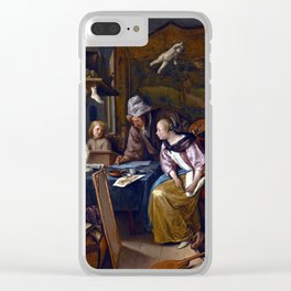 Jan Steen The Drawing Lesson Clear iPhone Case