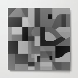 Langley Tex Black and White Metal Print
