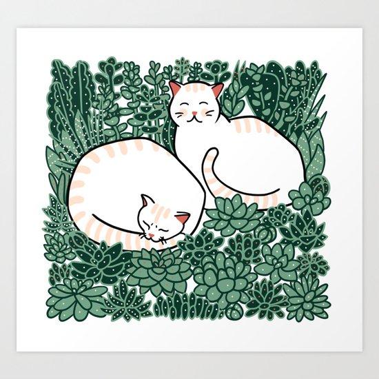 Cats in a succulent garden Art Print