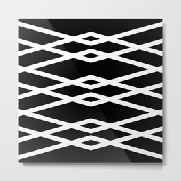 Black and White Abstract Linear Intersecting Lines Pattern Metal Print