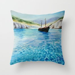 Shinning Ocean - Watercolor Landscape Art Throw Pillow