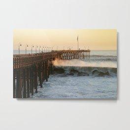 Ventura Pier with Big Wave Metal Print