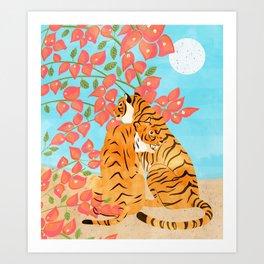 Tiger Honeymoon Illustration, Wildlife Floral Botanical Painting, Full Moon Cats Bougainvillea Art Print