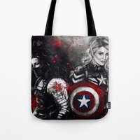 stucky Tote Bags featuring Can You Love Me Again by Monika Gross