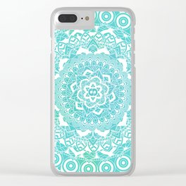 Sea Green Ombre, Indian Mandala Pattern Clear iPhone Case