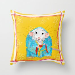 Stay Calm and Meditate with Stu the Rat Throw Pillow