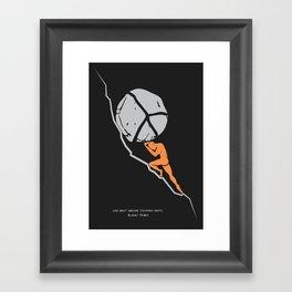 One Must Imagine Sisyphus Happy - Illustration - Albert Camus Quote Framed Art Print