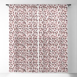 Velvet Burgundy Coral Motif Sheer Curtain