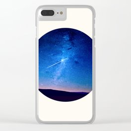 Mid Century Modern Round Circle Photo Graphic Design Shooting Star Blue Nebula Galaxy In The Sky Clear iPhone Case